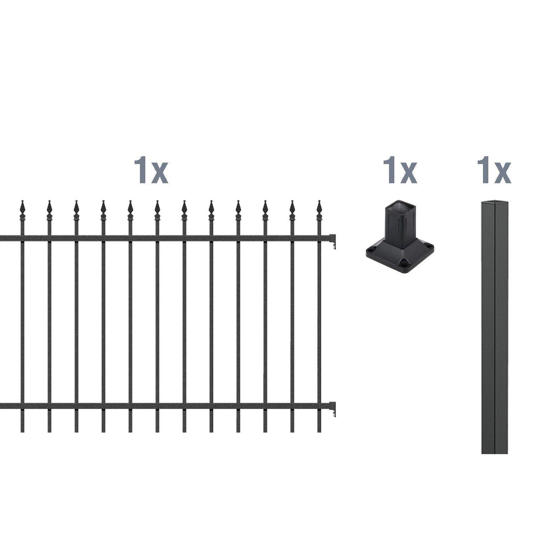 metallzaun anbau set chaussee schwarz z aufschrauben 120 cm x 200 cm kaufen bei obi. Black Bedroom Furniture Sets. Home Design Ideas