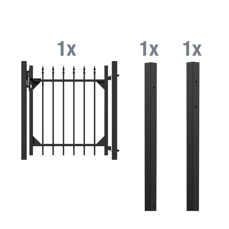 metallzaun einzeltor set chaussee schwarz z einbetonieren. Black Bedroom Furniture Sets. Home Design Ideas