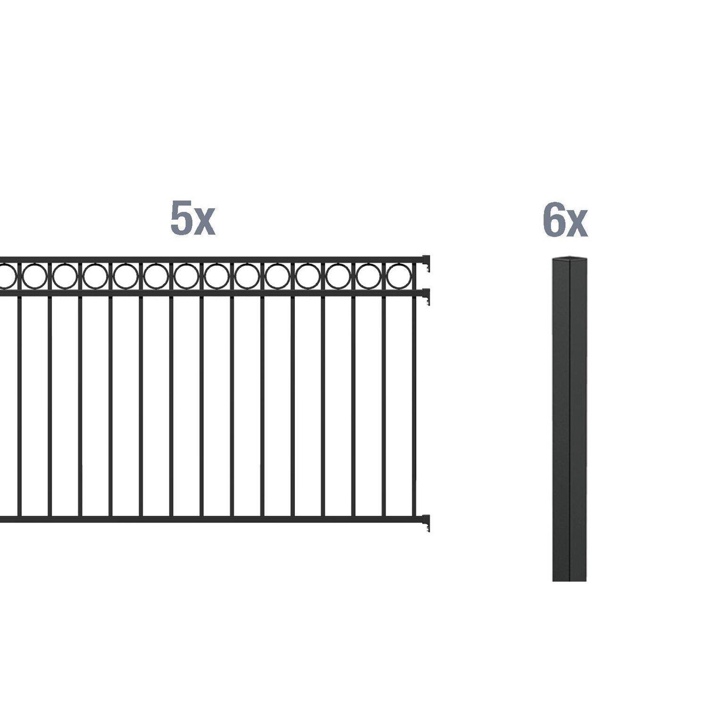 metallzaun grund set circle schwarz z einbetonieren 100. Black Bedroom Furniture Sets. Home Design Ideas