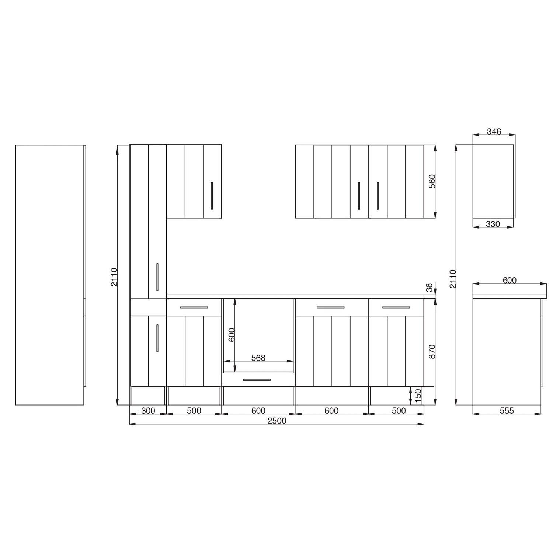 Respekta Premium Küchenzeile Landhaus 250 cm Lärche Weiß matt