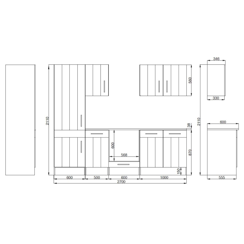 Küchenzeilen landhausstil weiß  Respekta Premium Küchenzeile Landhaus 270 cm Lärche Weiß matt kaufen ...