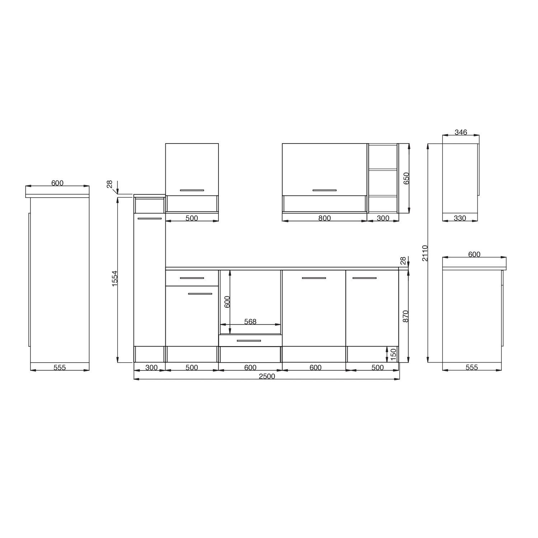 respekta k chenzeile 250 cm grau wildeiche nachbildung kaufen bei obi. Black Bedroom Furniture Sets. Home Design Ideas