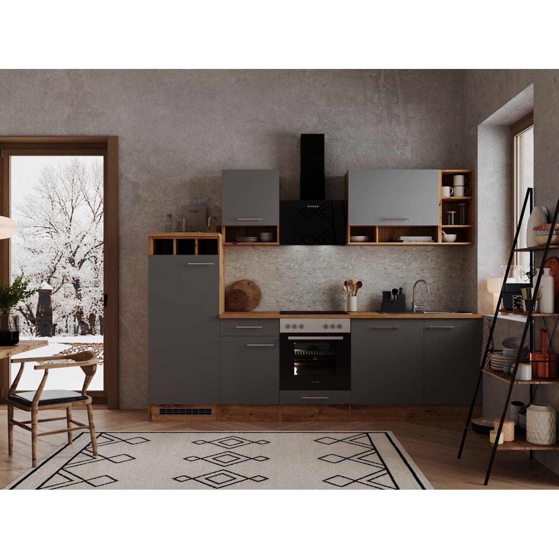 Respekta Küchenzeile 280 cm Grau-Wildeiche Nachbildung kaufen bei OBI