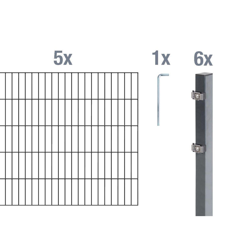 Metallzaun Grund Set Doppelstabmatte Anthrazit Z Einbetonieren 140