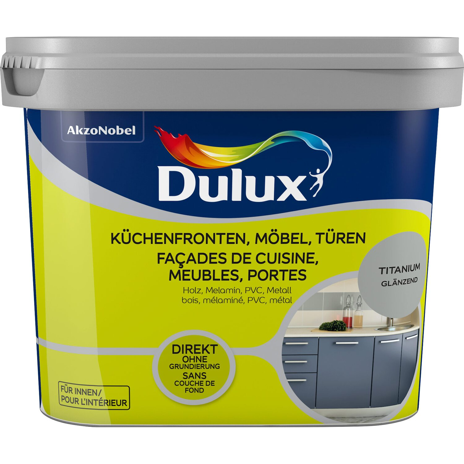 dulux fresh up lack f r k chen m bel und t ren gl nzend titanium 750 ml kaufen bei obi. Black Bedroom Furniture Sets. Home Design Ideas