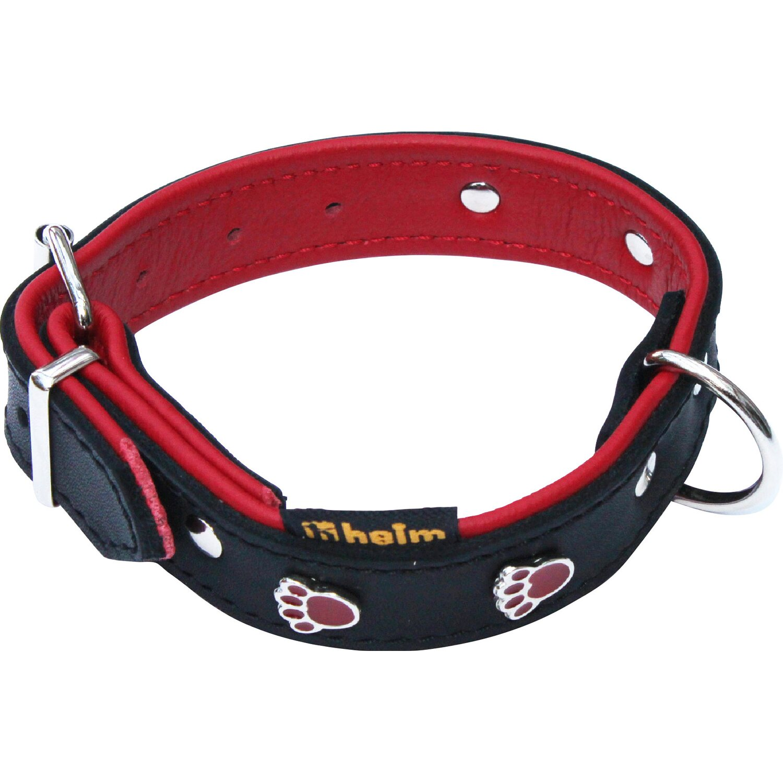 Heim Hundehalsband Pfote Breite 22 mm Länge 45 cm Schwarz/Rot