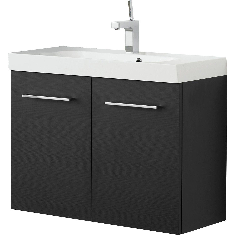 scanbad waschplatz multo ludo 80 cm schwarz struktur 2 teilig kaufen bei obi. Black Bedroom Furniture Sets. Home Design Ideas