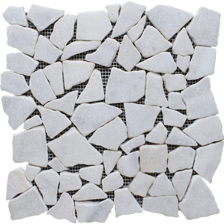 Mosaico Solo Bruchmosaikmatte Weiß 30,5 cm x 30,5 cm