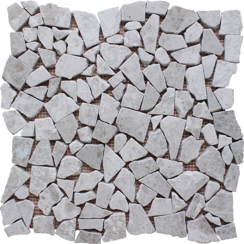 Mosaico Solo Bruchmosaikmatte Silbergrau 30,5 cm x 30,5 cm