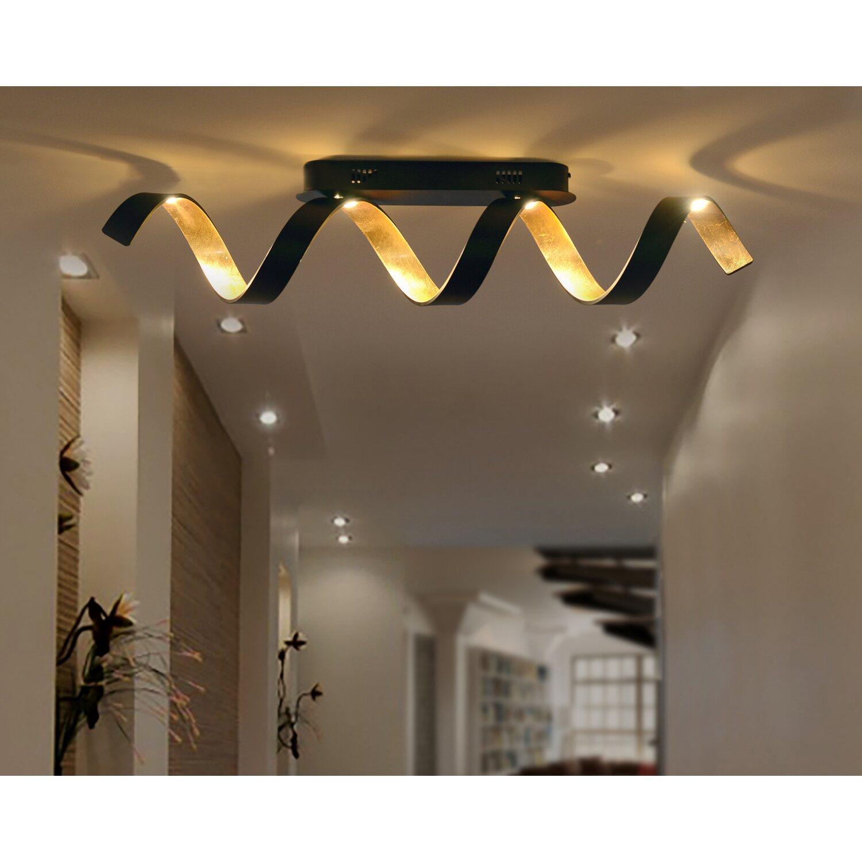 Luce Design LED Deckenleuchte Helix Schwarz Gold 35 cm x 80