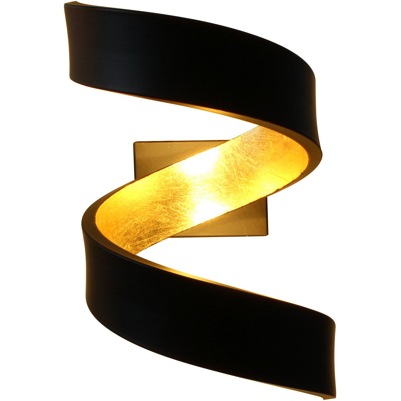 Luce Design Led Wandleuchte Helix Schwarz Gold 17 Cm X 10 Cm X 13