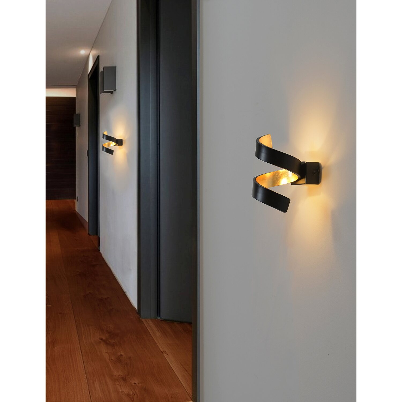 schwarz Design Edel Aufbau Leuchte Lampe Licht Flur LED Helix Wandleuchte gold