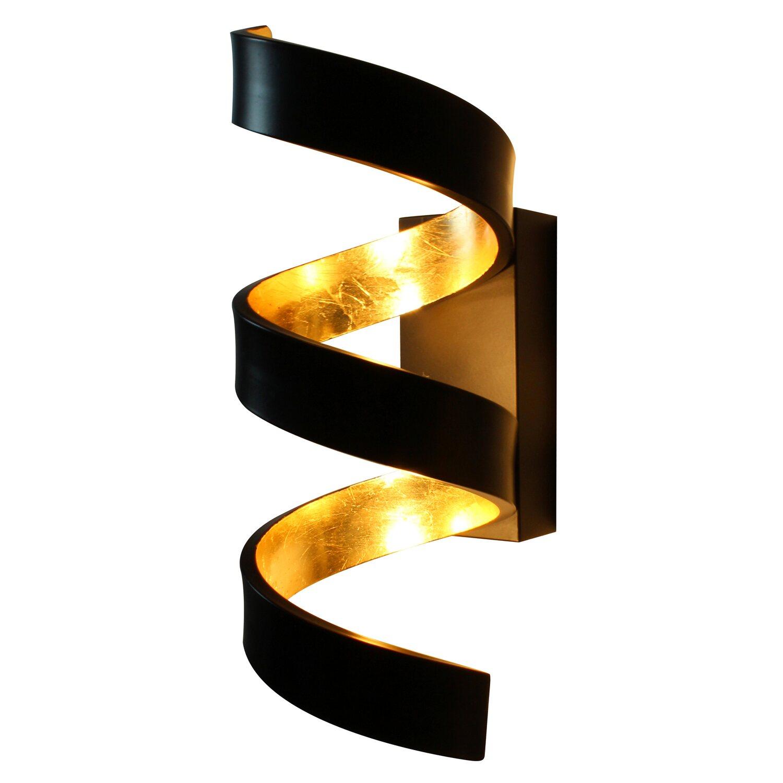 Luce Design Led Wandleuchte Helix Schwarz Gold 26 Cm X 10 Cm X 13