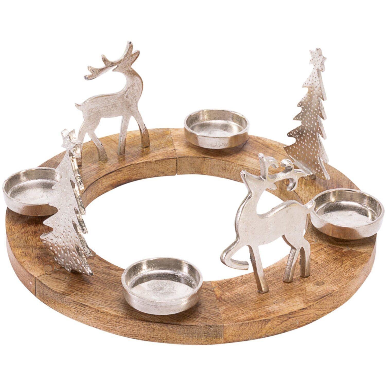 Adventskranz Rentiere 18 cm x 40 cm Ø | Weihnachten > Adventskranz und Weinachtsleuchter | Mangoholz - Aluminium | best of home