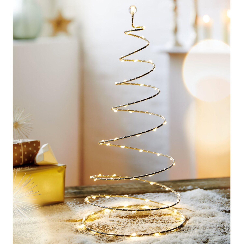 Weihnachtsbeleuchtung Außen Zug.Led Tanne Spirello 100 Warmweiße Leds Silbergrau 49 Cm Innen Und Außen