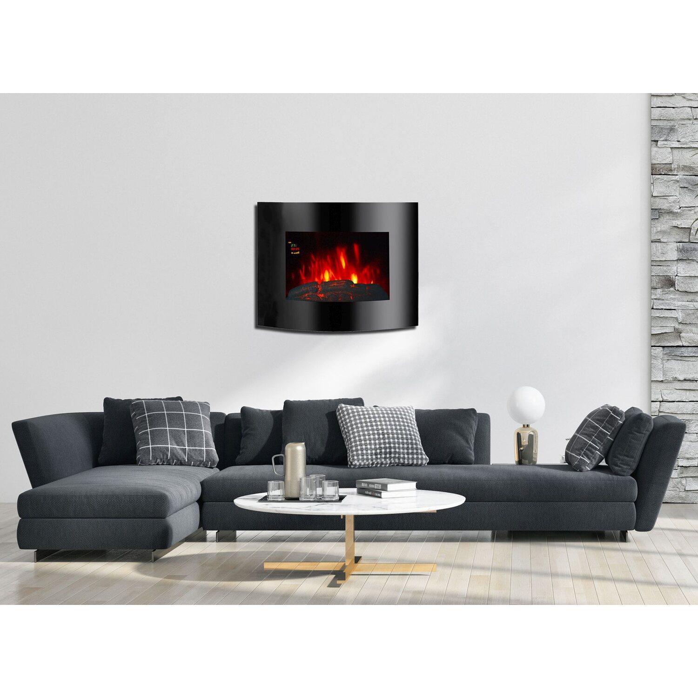 EL Fuego Elektrowandkamin Aarau Oval Schwarz 1,8 kW | Wohnzimmer > Kamine & Öfen > Wandkamine | EL Fuego