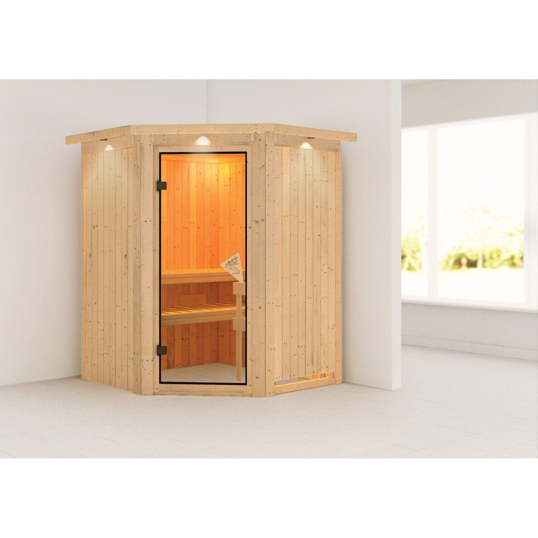 Karibu Sauna Larin Mit Eckeinstieg Glastur Bronze Dachkranz Kaufen