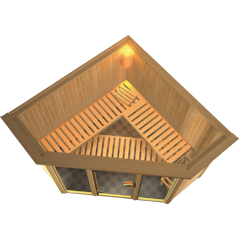 Karibu Sauna Flora 2 Mit Eckeinstieg 68 Mm Inkl Ganzglastur Und