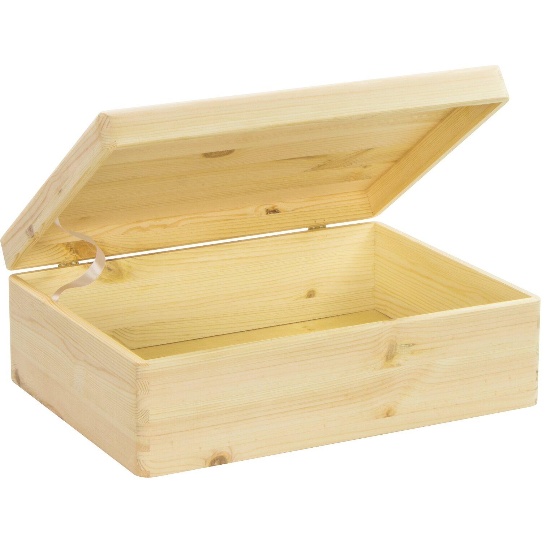Aufbewahrungsbox Weihnachtskugeln.Laublust Holzkiste Mit Deckel Natur Kiefer 40 Cm X 30 Cm X 14 Cm Fsc