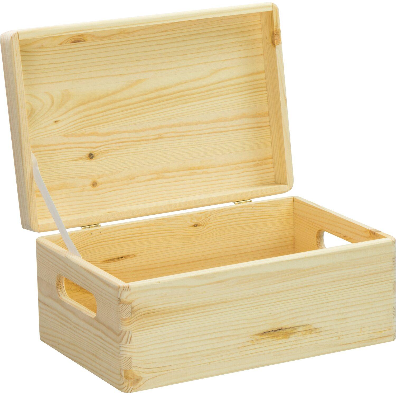 Laublust Holzkiste Deckel Und Griffe Natur Kiefer 30 Cm X 20 Cm X 14