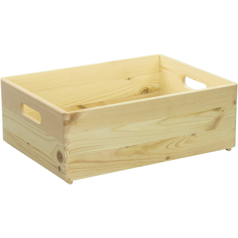 Laublust Holzkiste Mit Griffen Natur Kiefer 40 Cm X 30 Cm X 14 Cm