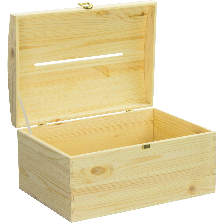 Holz-Schatulle,Holzkiste,Schatzkiste,Kiefer unbehandelt