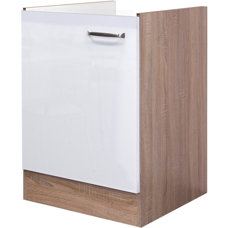 Flex-Well Exclusiv Spülenunterschrank Valero 50 cm Hochglanz Weiß-Sonoma Eiche