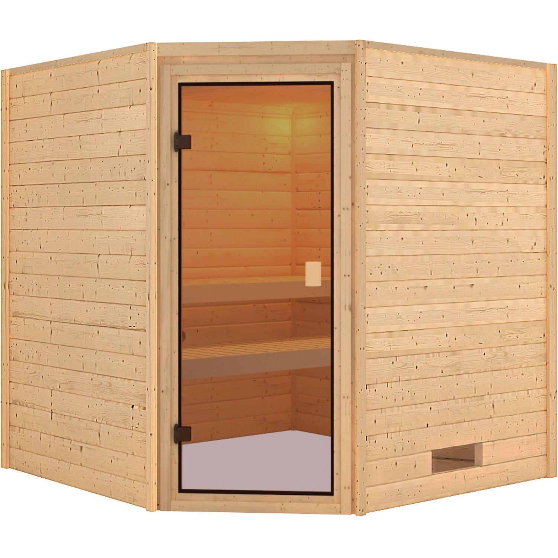 Karibu Sauna Jami mit Eckeinstieg ohne Ofen, Glastür | Bad > Sauna & Zubehör > Saunen | Karibu