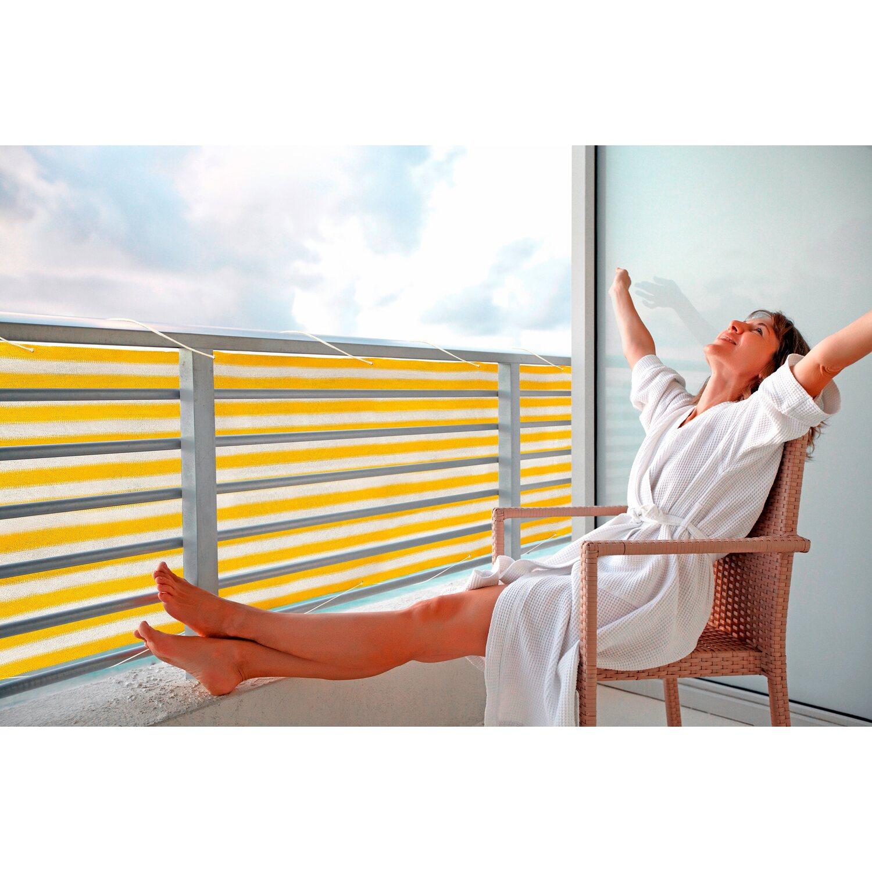 Floracord Balkonsichtschutz Gelb Weiss 500 Cm X 90 Cm Kaufen Bei Obi
