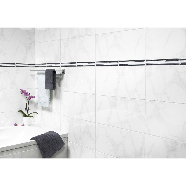 Wandfliese Barock Weiß Marmoriert Glänzend Cm X Cm Kaufen Bei OBI - Fliesen weiß grau marmoriert