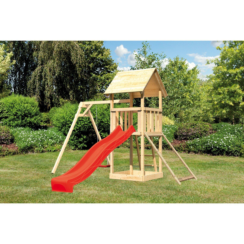 Akubi Spielturm Lotti Mit Einzelschaukel Netzrampe Rutsche Rot