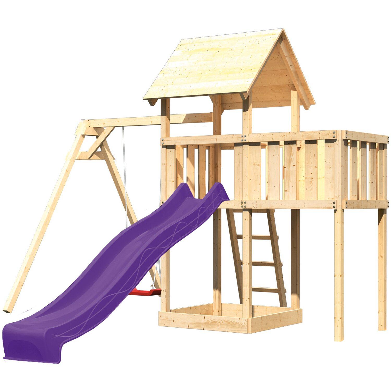 Akubi Spielturm Lotti mit Einzelschaukel, Anbauplattform & Rutsche Violett | Kinderzimmer > Spielzeuge > Schaukeln & Rutschen | Violett | Akubi