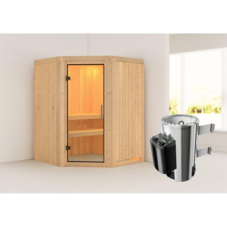 Karibu Sauna Meja, Ofen, integrierte Steuerung, Glastür   Bad > Sauna & Zubehör > Saunen   Karibu