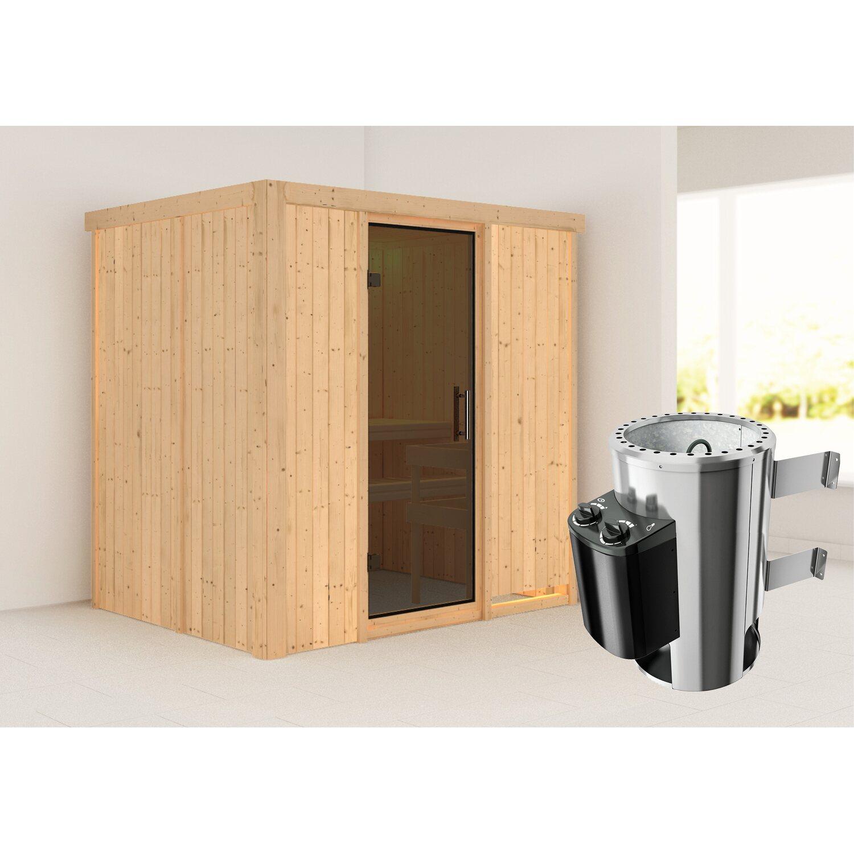 Karibu Sauna Finja, Ofen, integrierte Steuerung, Glastür Graphit   Bad > Sauna & Zubehör > Saunen   Graphit   Karibu