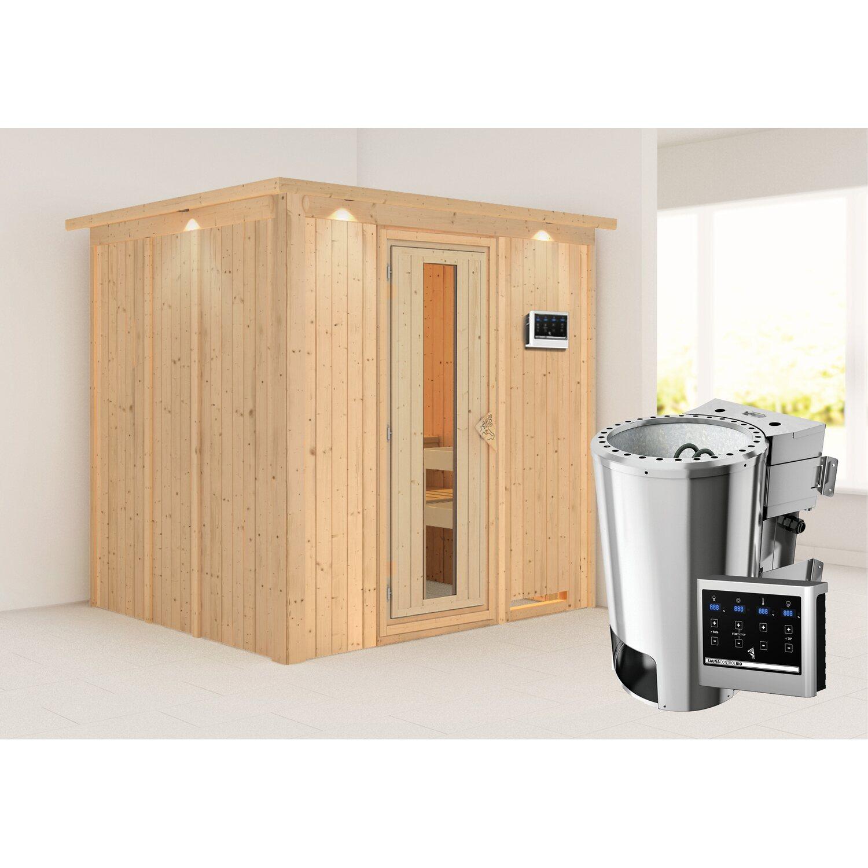 Karibu Sauna Dilja, Bio-Ofen, externe Steuerung Easy, Holztür, LED-Dachkranz | Bad > Sauna & Zubehör > Saunen | Holz | Karibu