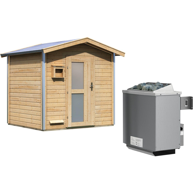 Karibu Saunahaus Espen 1, Ofen, integrierte Steuerung, Milchglastür | Baumarkt > Bad und Sanitär | Karibu
