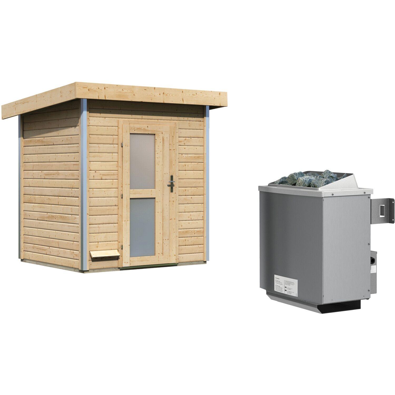 Karibu Saunahaus Leeven, Ofen, integrierte Steuerung, Milchglastür | Baumarkt > Bad und Sanitär > Sauna und Zubehör | Karibu