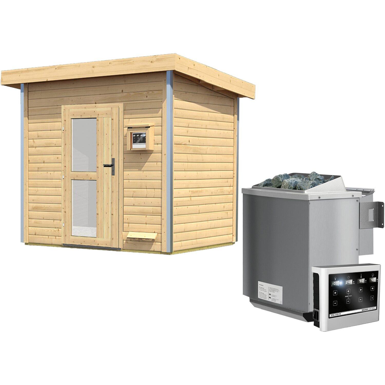 Karibu Saunahaus Ruven, Bio-Ofen, externe Steuerung Easy, Milchglastür   Baumarkt > Bad und Sanitär   Karibu