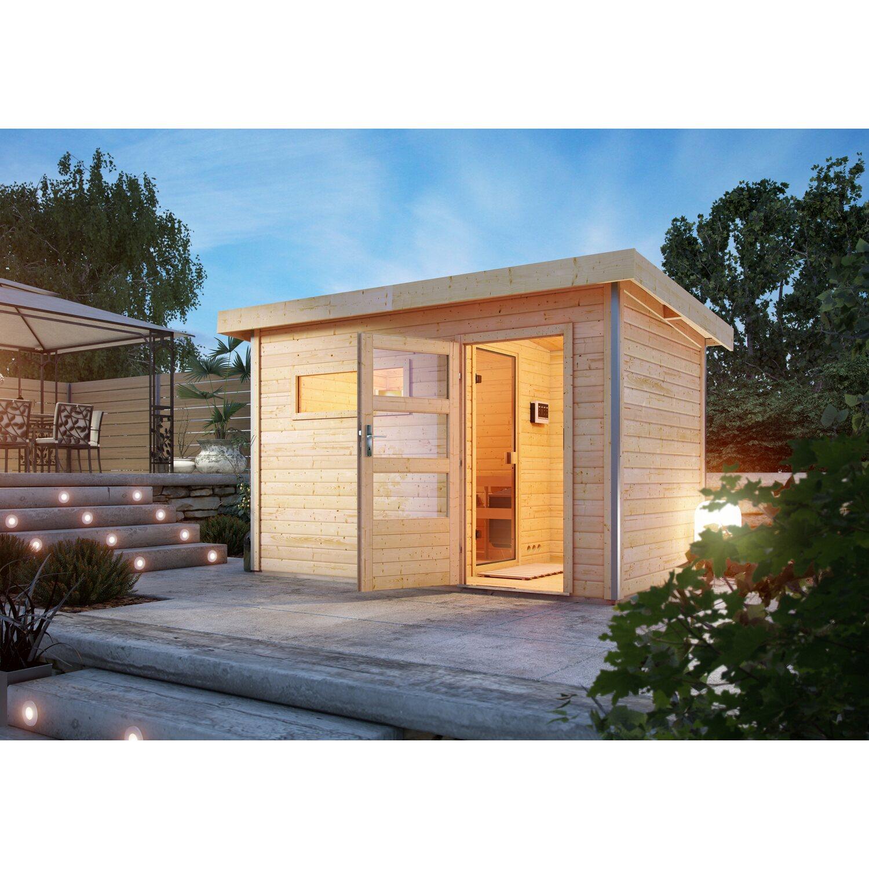 Karibu Saunahaus Hendrik 1, Bio-Ofen, externe Steuerung Easy, Glastür | Baumarkt > Bad und Sanitär | Karibu