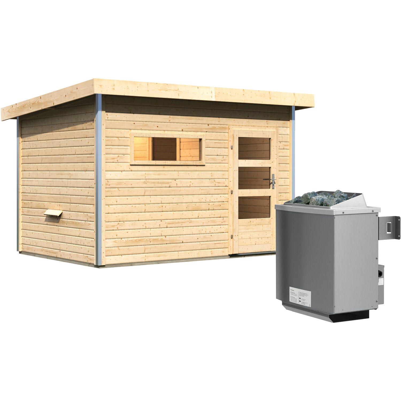 Karibu Saunahaus Hendrik 2, Ofen, integrierte Steuerung, Milchglastür | Baumarkt > Bad und Sanitär > Sauna und Zubehör | Karibu