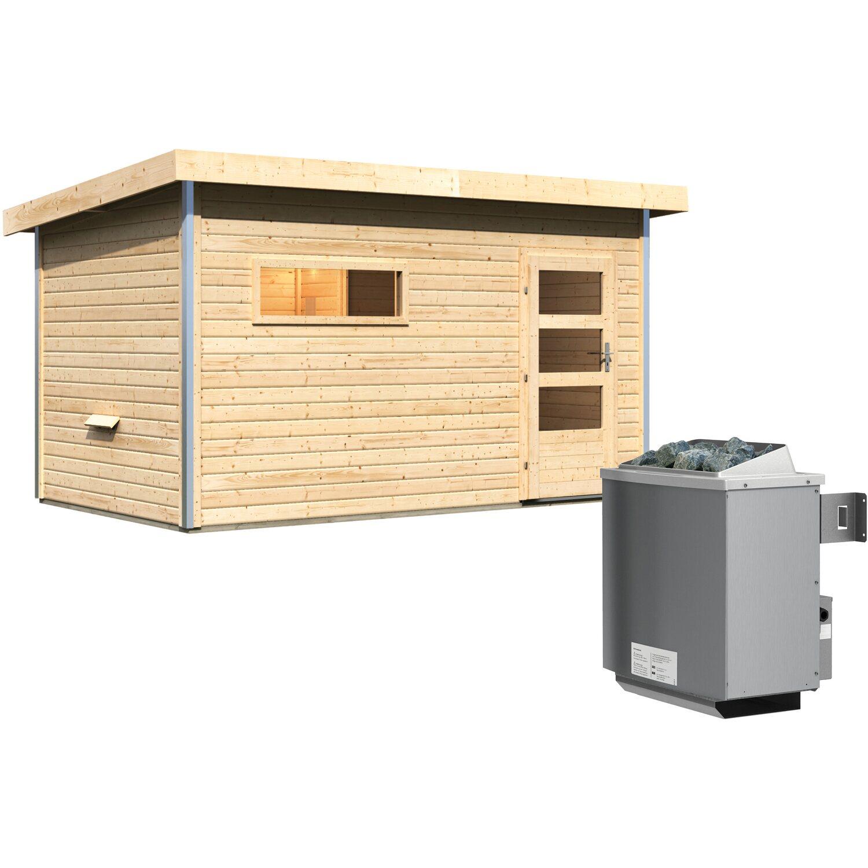 Karibu Saunahaus Hendrik 3, Ofen, integrierte Steuerung, Glastür | Baumarkt > Bad und Sanitär > Sauna und Zubehör | Karibu