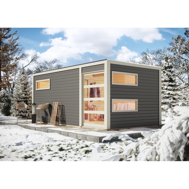 Karibu Saunahaus Kjeld, Ofen, externe Steuerung Easy, Glastür Bronze, Terragrau | Baumarkt > Bad und Sanitär | Bronze | Karibu