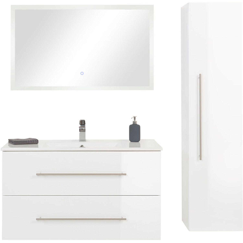 Posseik Badmöbel-Set Homeline 100 cm Weiß Hochglanz 3-teilig EEK: A ...
