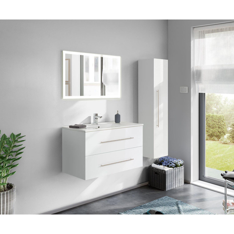 Posseik Badmöbel-Set Homeline 100 cm Weiß Hochglanz 3-teilig EEK: A++