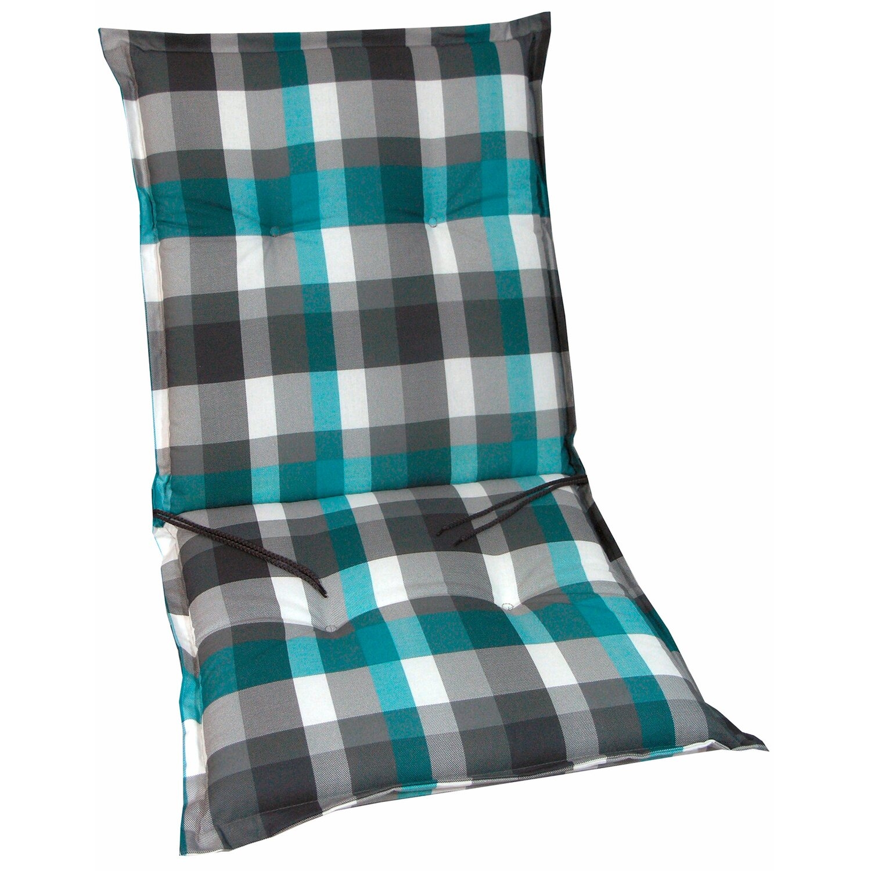 Sitzkissen 42 x 42 cm mit Band blau grau Kissen Stuhlkissen Madison Auflagen NEU
