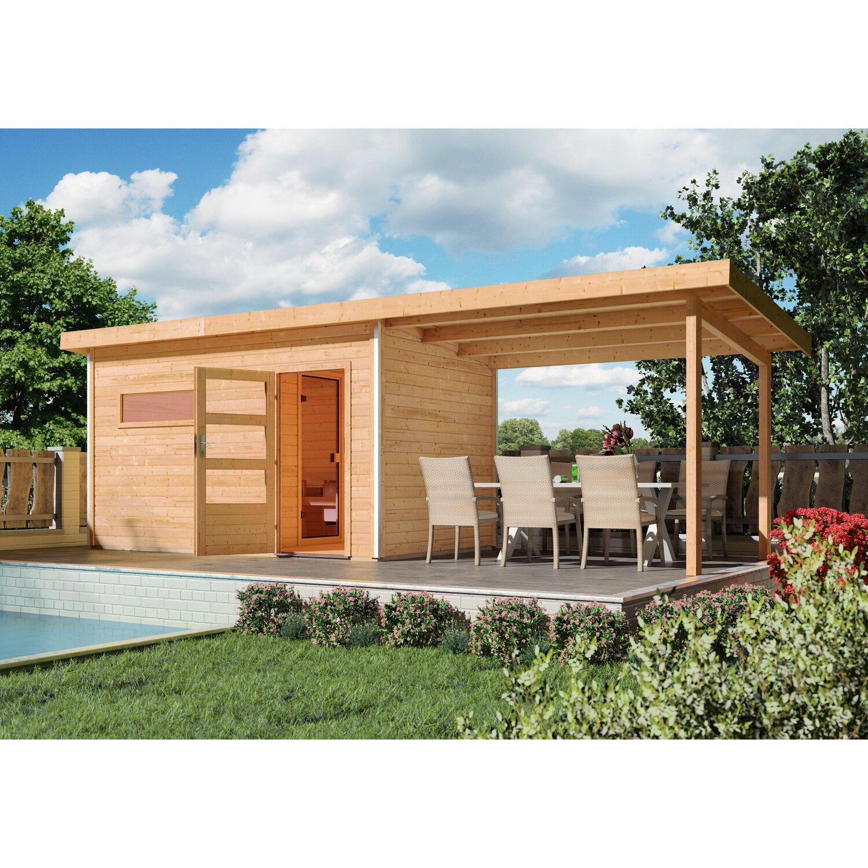 Karibu Anbau-Schleppdach für das Saunahaus Hendrik 2 und 3
