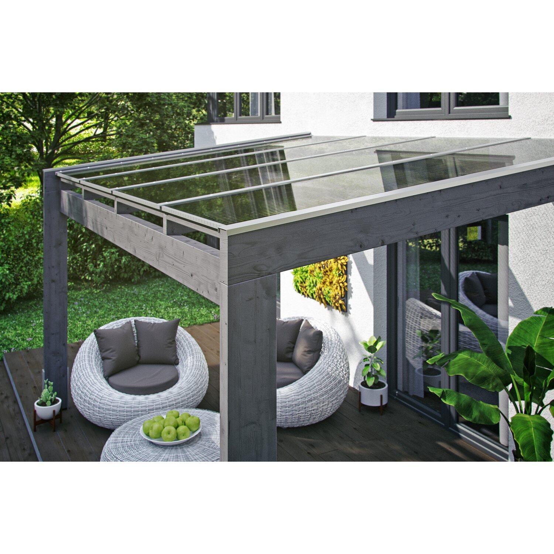 Skan Holz Terrassenüberdachung Novara 450 cm x 259 cm Schiefergrau