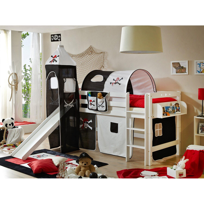 hochbett mit turm toby r buche massiv wei inkl vorhang. Black Bedroom Furniture Sets. Home Design Ideas