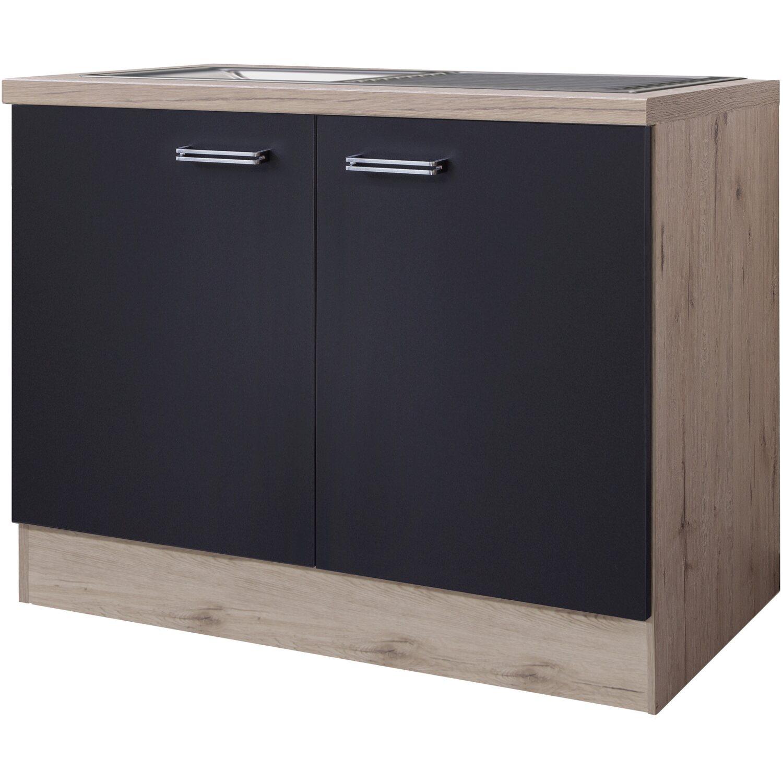 Flex-Well Exclusiv Spülenunterschrank Lara 100 cm Anthrazit-San Remo Eiche | Küche und Esszimmer > Küchenschränke > Spülenschränke | Flex-Well Exclusiv