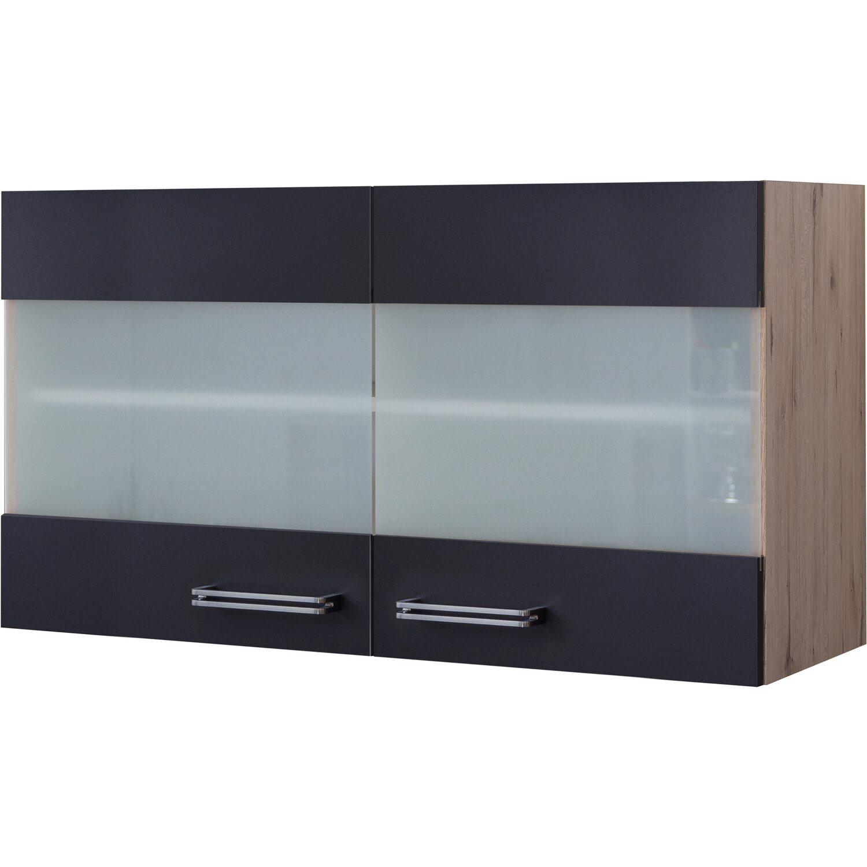 Flex-Well Exclusiv Glas-Hängeschrank Lara 16 cm Anthrazit-San Remo Eiche